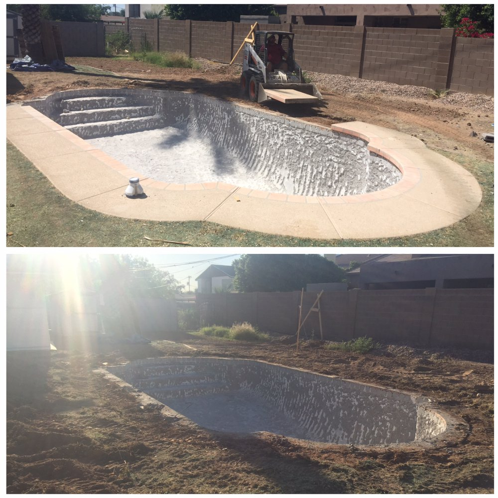 Pool demolition before & after
