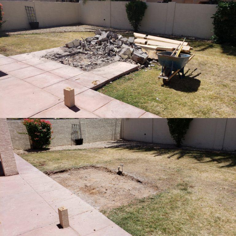Concrete demolition before & after
