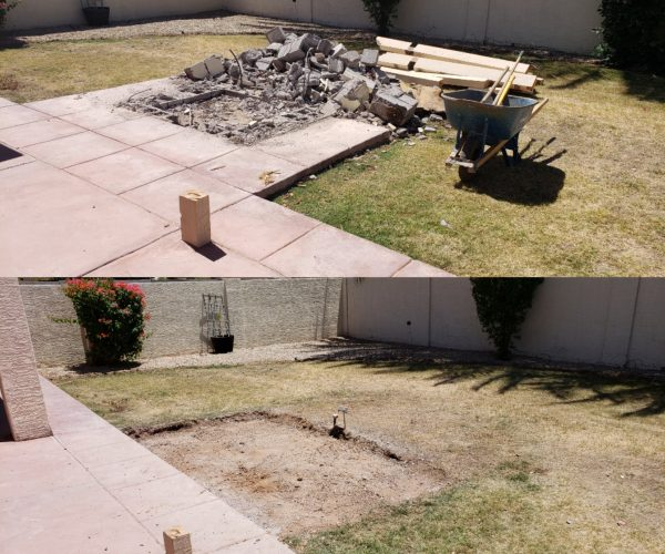 Concrete demolition before & after
