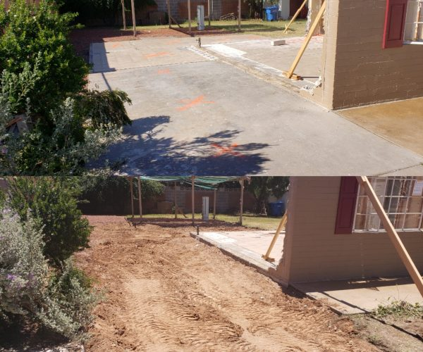 Dirt removal before & after