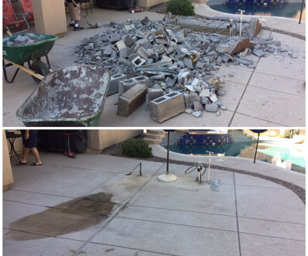 Dirt, rock, concrete removal before & after